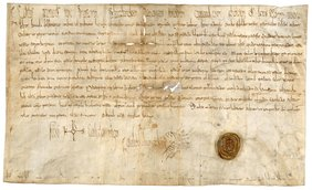 Bild 1: Die älteste Urkunde im Bayerischen Hauptstaatsarchiv und die Ersterwähnung von Frankfurt am Main: Kaiser Karl der Große schenkt im Jahr 794 dem Kloster St. Emmeram bei Regensburg Land (BayHStA, Kloster Regensburg-St. Emmeram 1).